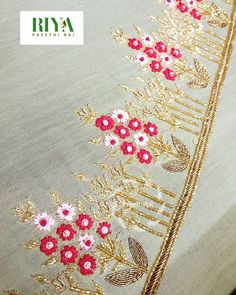These Vibrant flowers 😍 on a pastel . Skirt border making in the process . Embroidery Suits Punjabi, Zardozi Embroidery, Hand Embroidery Dress, Couture Embroidery, Floral Embroidery, Beaded Embroidery, Border Embroidery Designs, Basic Embroidery Stitches, Embroidery Suits Design