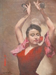 "Flamenco Postcard Mujeres de Espana #3 Canvas Art Poster 16/""x 24/"""