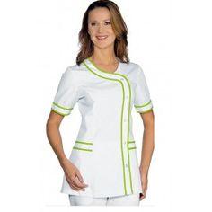 Chaqueta sanitaria BRASILIA 7 colores - ISACCO Spa Uniform, Doctor Coat, Medical Uniforms, Nursing Tops, Brand Identity Design, Hijab Fashion, Scrubs, Work Wear, Chef Jackets