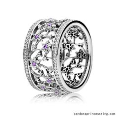 802a0935e PANDORA Forget Me Not Ring With its lines of glittering cubic zirconia  stones, purple hues and elaborate decoration of petite forget-me-not  flowers, ...