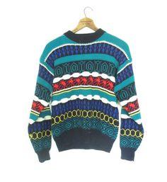 Retro 80s Style Winter Sweater Vintage Knit by SandyLeesAttic, $30.00