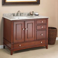 Manorhaven 42 Single Sink Vanity By Mission Hills Transitional Design With Brazilian Granite