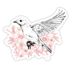 """Fledglings and Floral Frills"" Sticker von Jamie Stryker 