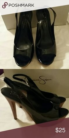 "Jessica Simpson ""Astor"" Black Patent Leather New in box, leather upper slingbacks with a brown wooden heel. Textured sole for easier walking. Platform is a little over 1.5"" and heel is about 5"". Offers are welcome, thank you for viewing! Jessica Simpson Shoes Sandals"