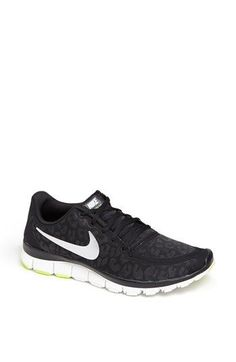 Nike 'Free 5.0 V4' Running Shoe (Women) available at #Nordstrom - come in white and dark blue too! love how animal print is even hitting sneakers!