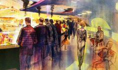 John Hench—Carousel of Progress concept art (detail) Disney Concept Art, Dapper Day, Inspirational Artwork, World's Fair, Yesterday And Today, Sketches, Style Inspiration, Illustration, Fun