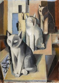 Three Cats : Adolf Fleischmann : circa 1928 Art Print Suitable for Framing for sale online Animal Art Prints, Wall Art Prints, Fine Art Prints, Poster Prints, Posters, Cat Allergies, Three Cats, Art Prints For Sale, Abstract Painters