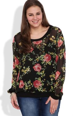 Black Floral Long Sleeve Blouse with Banded Bottom