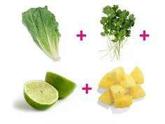 6 hojas lechuga romana + 1/4 manojo cilantro + 1/2 limón + 1 1/2 taza de piña.  Licuado pata eliminar toxinas.