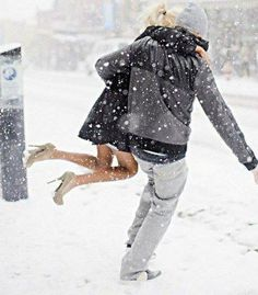 here is the way to do it guys - never let her feet touch the snow to get wet -- honour her, love, cherish and protect her..... a true gentleman!