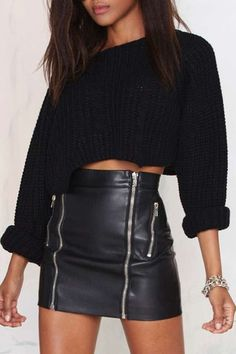 skirt sweater black cropped sweater leather high waisted winter outfits all black everything style    Pinterest: myia24