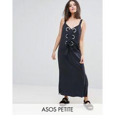 ASOS PETITE Eyelet Detail Maxi Dress ($67) ❤ liked on Polyvore featuring dresses, grey, grey maxi dress, gray dresses, v neck maxi dress, petite length maxi dresses and short maxi dress
