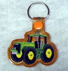Tractor Key Fob  Machine Embroidery Pattern by WhimsyDolls on Etsy