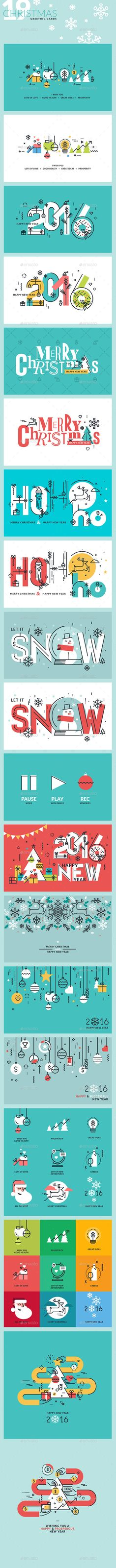 Set of Flat Line Design Christmas Greeting Cards Template Vector EPS, AI #design Download: http://graphicriver.net/item/set-of-flat-line-design-christmas-greeting-cards-/13709421?ref=ksioks