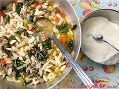 Swiss Chard & Sausage Soup with Cavatelli - Rossella's Cooking with Nonna Italian Dishes, Italian Recipes, Soup Recipes, Cooking Recipes, Sausage Soup, Pasta, Soup And Sandwich, Soup And Salad, Soups And Stews