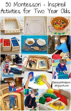 50 Montessori Activities for 2 Year Olds. I like keeping 2 year olds busy...