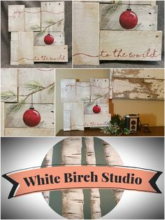 """Rustic Christmas decor, Pallet art, Farmhouse decor, One of a kind, Joy to the world, ORIGINAL, Christmas Hand painted, Shabbt chic, Distressed   This is the ORIGINAL, One of a kind for sale. Acrylic painting on reclaimed Pallet boards. This unique piece is appx. 16""""wide x 14"""" tall"""