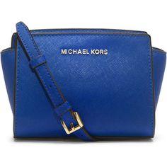 MICHAEL Michael Kors Selma Mini Saffiano Messenger Bag (895 VEF) ❤ liked on Polyvore featuring bags, messenger bags, electric blue, blue bag, mini bag, messenger bag, logo bags and monogrammed messenger bags