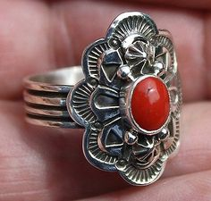Handmade Navajo Heavily Detailed Sterling Silver & Coral Ring By HAPPY PIASSO