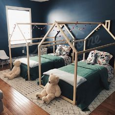 Twin room ideas, blue child room ideas Toddler bed, House shaped bed, nursery wood house bed bed home Montessori toy frame bed original bed home bed floor bed developing toy