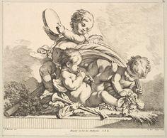 Louis Félix de La Rue | Tres Cupids, Dos Música Jugar, una celebración de hojas de palma | El Museo Metropolitano de Arte