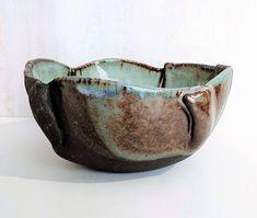 Hand Built Pottery. Zen Ceramics Hand Built Salad Serving Bowl Nature Inspired Bowl WOODLAND Ceramic Organic Bowl