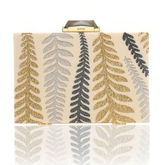 Inspired by a Japanese textile from the Deco period, depicting stylized ferns, the piece is created by hand with inlaid perspex set into a gold-plated brass frame and finished with KOTUR's signature faceted clasp, brocade lining and a 30 cm drop-in chain. The perfect size and shape for your essentials, including an iphone 6.