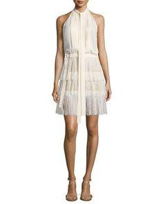 MICHAEL KORS Sleeveless Tie-Neck Pleated Dress, Vanilla. #michaelkors #cloth #