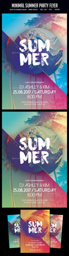 Minimal Summer #Party #Flyer - Clubs & Parties Events Download here: https://graphicriver.net/item/minimal-summer-party-flyer/19459969?ref=alena994