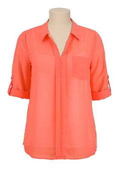 3/4 sleeve v-neck chiffon blouse (original price, $29) available at #Maurices