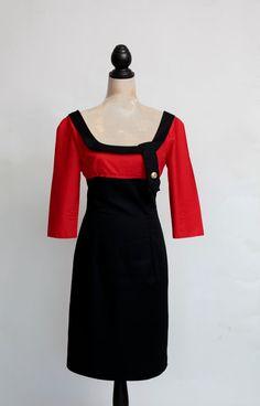 1950s inspired bombshell dress in black by butterfliesjuliebea