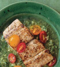 Seared Mahi-Mahi with Green Gazpacho Sauce / Image via: Lisa Hubbard #spain #recipe