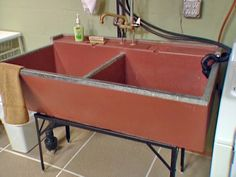Paint and seal a vintage concrete laundry sink