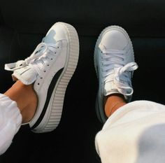 Fenty Puma by Rihanna Leather Creeper Sneaker, White/Black Sock Shoes, Cute Shoes, Me Too Shoes, 1980s Fashion Trends, 90s Fashion, Fenty Puma, Puma Fenty Shoes, Dream Shoes, Pumas Shoes