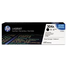 A dual pack toner cartridge, the new and original HP 304A Black toner cartridge refill is designed for use with Hewlett-Packard Color LaserJet CP2025n, CP2025dn, CP2025x, CM2320n MFP, CM2320nf MFP and CM2320fxi MFP printers. It has a printing capacity of 3,500 pages (due to ink distribution on every page, the no. of prints per cartridge may vary).