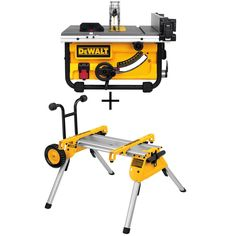 Dewalt 15 Amp 10 In Compact Job Site Table Saw With Site Pro Modular Guarding System With Bonus Rolling Table Saw Table Saw Stand Rolling Table Best Table Saw