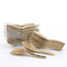 Eco-friendly, disposable spoons made from Bamboo Leaves. Perfect for spring and summer parties. www.bambooimportsmn.com