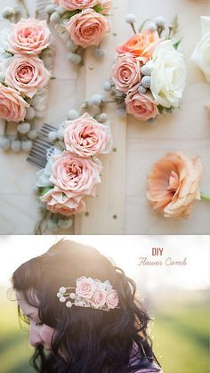 DIY Fresh or Silk Flower Hair Comb Tutorial from Green Wedding Shoes. For more DIY hair jewelry go here: bobby pins and hair combs, headband...