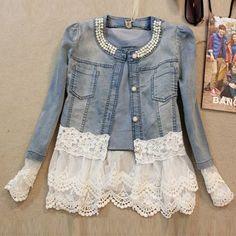 Jeans Jacket Women Casacos Feminino Slim Lace Patchwork Beading Denim Lady Elegant Vintage Jackets Coat WWJ084