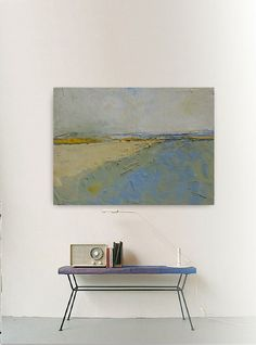 Abstract painting yellow and blue modern original by INKAARTSHOP