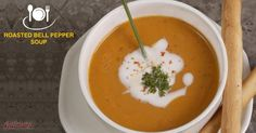 Whet your appetite with the warmly smooth and creamily comforting bowl of our Roasted Bell Pepper Soup!