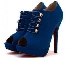 Peep Toe Royal Blue Platform Pumps