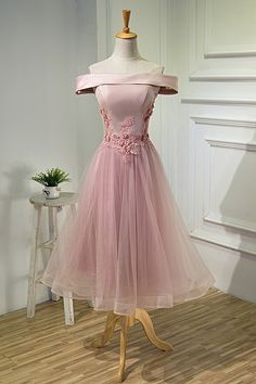 Charming Floral Tea Length Prom Party Dress Pink Tulle Off The Shoulder Corset Winter Prom Dresses, Pink Prom Dresses, Beautiful Prom Dresses, Lace Evening Dresses, Prom Dresses Online, Prom Party Dresses, Homecoming Dresses, Pink Dress, Dress Lace