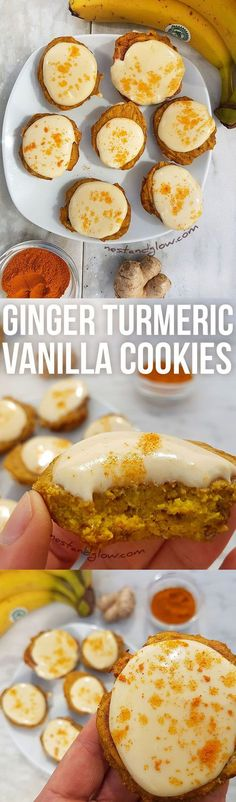 Ginger Turmeric Cashew Vanilla Cookies - Vegan and low sugar plant-based recipe via /nestandglow/