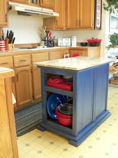 DIY kitchen island ....using nightstands back to back ! .... might also be good for a craft/cutting table