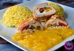 Töltött csirkemell karácsonyi mangó szósszal és curry rizzsel ~ Éhezésmentes Karcsúság Szafival