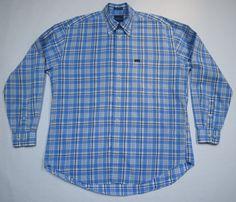 FACONNABLE Men's Shirt French Design Blue White Plaid L/Sleeve Cotton Size L #Faconnable #ButtonDown