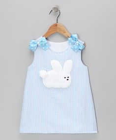 Heart & Soul Blue Rabbit Seersucker Jumper - Infant & Toddler by Heart & Soul Little Girl Fashion, Fashion Kids, Outfits Niños, Kids Outfits, Baby Dress Tutorials, Little Girl Dresses, Baby Sewing, Seersucker, Toddler Outfits