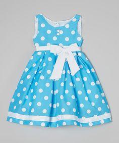 Blue Polka Dot Bow Dress - Toddler