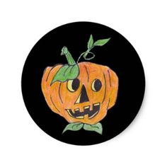Jack-o-Lantern Classic Round Sticker - Halloween happyhalloween festival party holiday